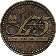 Token - 175 Years Bank of Montreal (French version) – obverse
