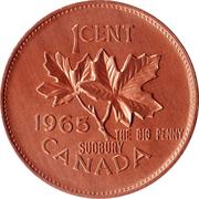 "Medallion - Sudbury ""Numismatic Park"" (Canada 1 Cent 1965) – reverse"