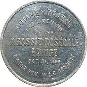 Medal - The Opening of Agassiz Rosedale Bridge (British Columbia) – obverse