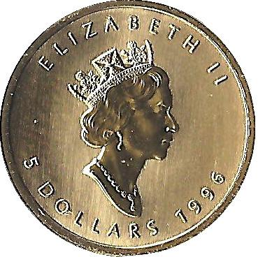 5 Dollars Elizabeth Ii 3rd Portrait 1 10 Oz Gold Bullion Coinage Canada Numista