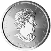 2 Dollars - Elizabeth II (Wolf Moon; ¾ oz. Silver Bullion Coinage) -  obverse