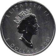 5 Dollars - Elizabeth II (1 oz. Autumn Maple Leaf; coloured) -  obverse