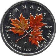 5 Dollars - Elizabeth II (1 oz. Autumn Maple Leaf; coloured) -  reverse