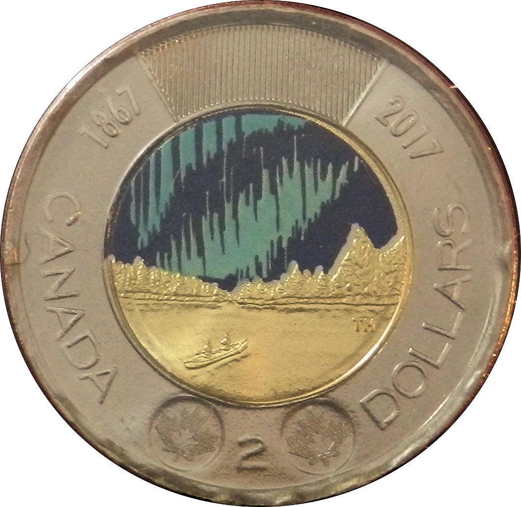 2017 Canada; 2 Dollars $2 Toonie; Dance of the Spirits Coloured Glow in Dark UNC