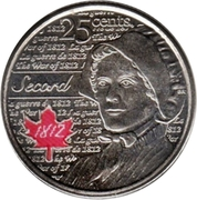25 Cents - Elizabeth II (War of 1812, Laura Secord; colourized) -  reverse