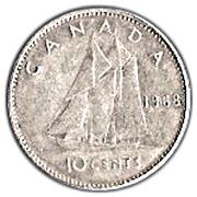 10 Cents - Elizabeth II (2nd portrait, Silver (.500), Ottawa) -  reverse