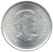 25 Cents - Elizabeth II (Wood Bison; colourized) -  obverse