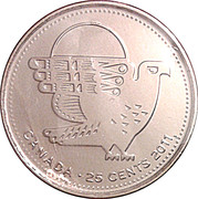 25 Cents - Elizabeth II  (Peregrine Falcon) -  reverse