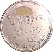 25 Cents - Elizabeth II (Peregrine Falcon: colourized) -  reverse
