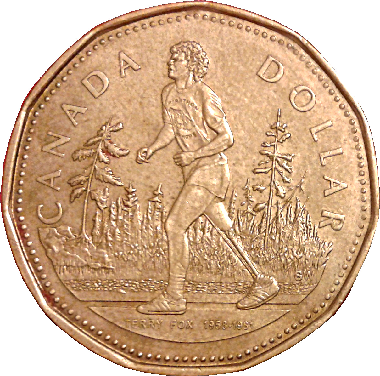 BU UNC Canada 2005 Terry Fox Marathon of Hope Dollar $1 loonie coin