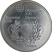 5 Dollars - Elizabeth II (Olympic Rings and Wreath) -  reverse