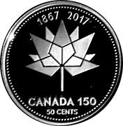 50 Cents - Elizabeth II (Canada 150 Logo) -  reverse
