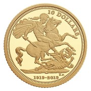 10 Dollars - Elizabeth II (The 1919 Sovereign: 100th Anniversary of the Last Issue) – reverse