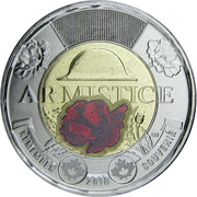 2 Dollars - Elizabeth II (Armistice; coloured) -  reverse
