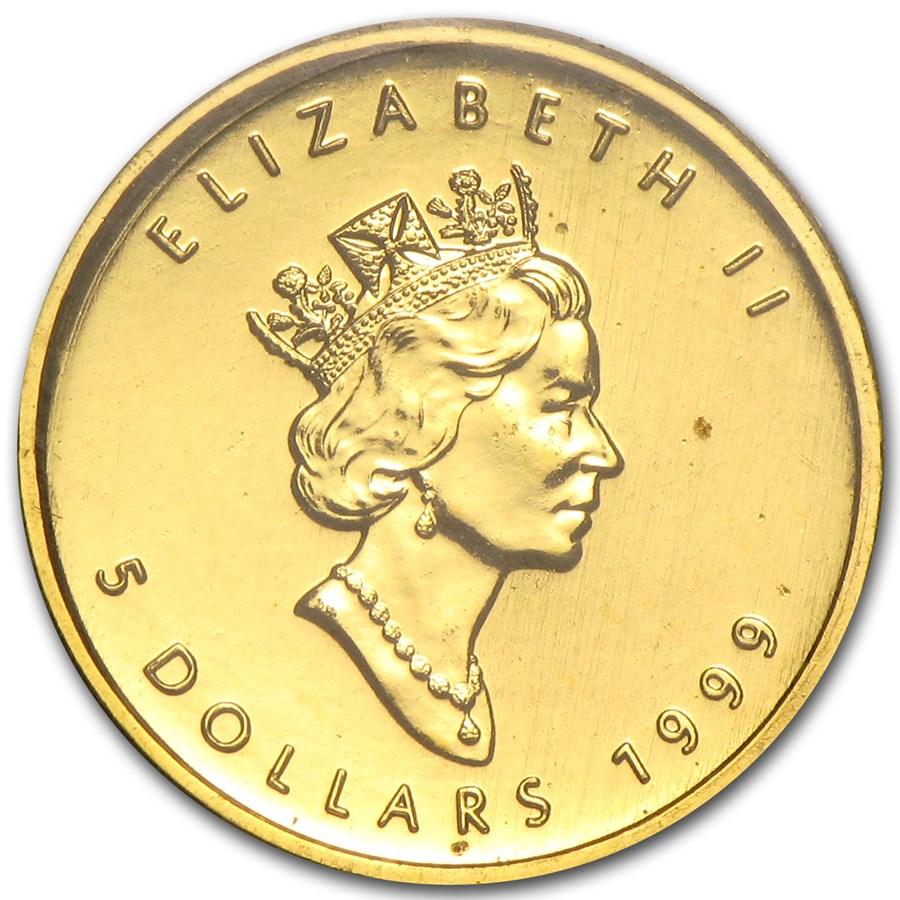 5 Dollars Elizabeth Ii 1 10 Oz Gold Maple Leaf 20 Years Ans Privy Canada Numista