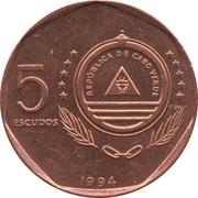 """5 Escudos (Sailboat """"Belmira"""") -  obverse"""