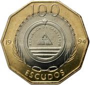 "100 Escudos (Sailship ""Madalan""; Brass ring) -  obverse"