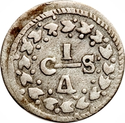 ¼ Real (Gran Colombia - Republican coinage) – reverse