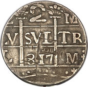 "2 Reales ""Macuquinas"" (Royalist/Republican coinage) – obverse"