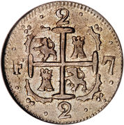 2 Reales - Fernando VII (Royalist coinage) – reverse