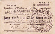25 centimes - Syndicat d'Emission fr Bons de Caisse de Charleville-mizières – obverse