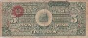 5 Pesos (Constitutionalist Army) – reverse