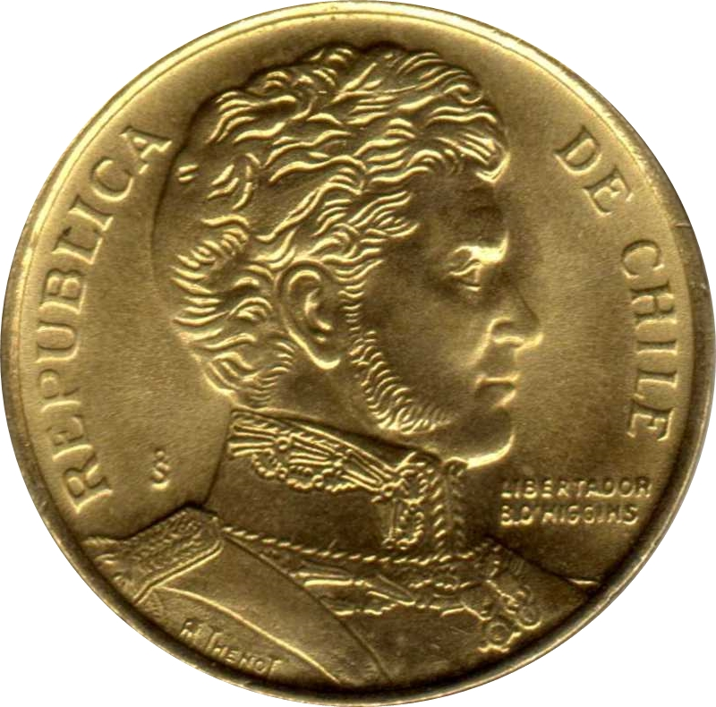 Chile 1 peso 2006 KM#231 Bernardo O/'Higgins Awesome octagon South America Santia