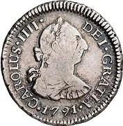 ½ Real - Carlos IV (bust of Carlos III, CAROLUS IIII) – obverse