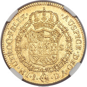 4 Escudos - Carlos IV (bust of Carlos III, CAROL IIII) – reverse