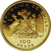 100 Pesos (150th Anniversary of National Coinage) – reverse