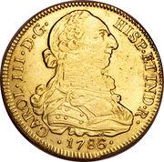 8 Escudos - Carlos III (bust of Carlos III, regular type) – obverse