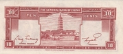 10 Cents (The Central Bank of China) – reverse