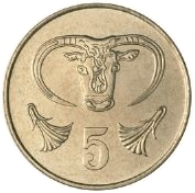 5 Cents (Type 1 coat of arms; solid value number) -  reverse