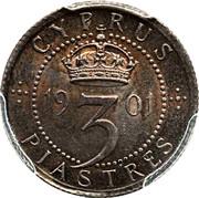 3 Piastres - Victoria – reverse