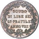 1 Scudo, 6 Lire – reverse