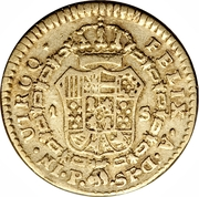 1 Escudo - Carlos IV (portrait of Carlos III) – reverse