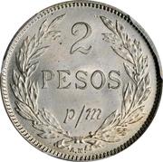 2 Pesos Papel Moneda (Inflationary coinage: 2 Pesos p/m = 2 Centavo) – reverse