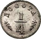 """¼ Real (""""Cuartillo"""" with caduceus, Republic of Nueva Granada) – reverse"""