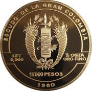 15000 Pesos - Death of Antonio Jose De Sucre – reverse