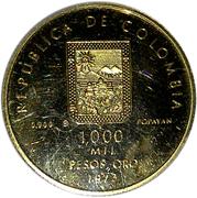 1000 Pesos (Guillermo Valencia) – obverse