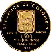 1500 Pesos (Guillermo Valencia) – obverse