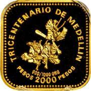 2000 Pesos (300th Anniversary of Medellin) – reverse