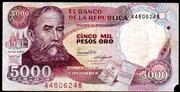 5000 Pesos Oro – obverse