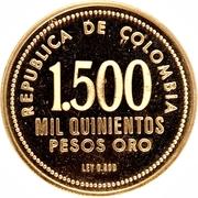 1500 Pesos (Gold Museum of Central Bank of Bogota) -  reverse