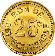 25 Centimes (Société Anonyme Token Coinage; Brass) – reverse