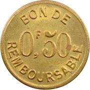 50 Centimes (Société Anonyme Token Coinage; Brass) – reverse