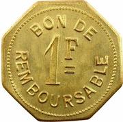 1 Franc (Société Anonyme Token Coinage; Brass) – reverse