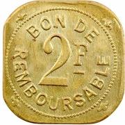2 Francs (Société Anonyme Token Coinage; brass) – reverse