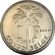 1 Franc - Albert I (Essai; French text) – reverse