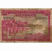 10 Francs Banque du Congo Belge Rouge – obverse